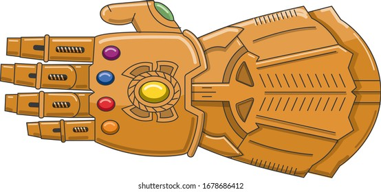 metal glove with gems