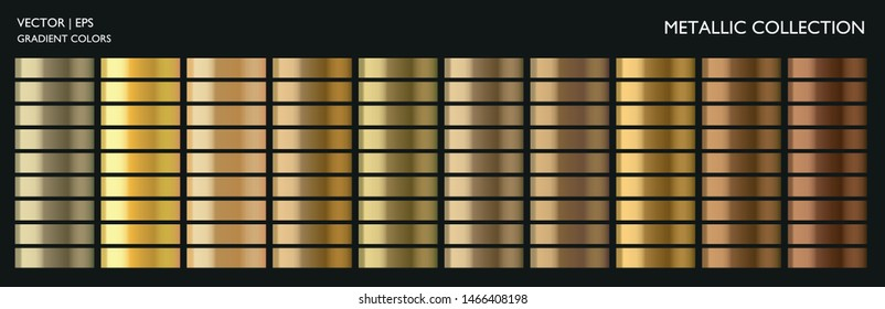 Metal gold. Metallic gradient. Golden color. Steel, iron, aluminium, tin. Yellow gold collection. Bronze colorful palette texture set. Holographic background. Chrome texture. Chromium polish effect.