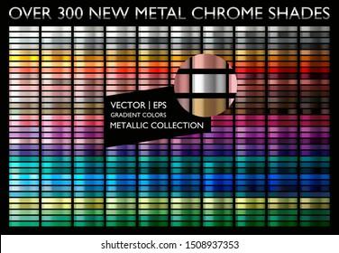 Metal gold. Metallic gradient. Golden color. Steel, iron, aluminium, tin. Yellow gold collection. Bronze colorful palette texture set. Holographic background. Chrome texture. Chromium polish effect.