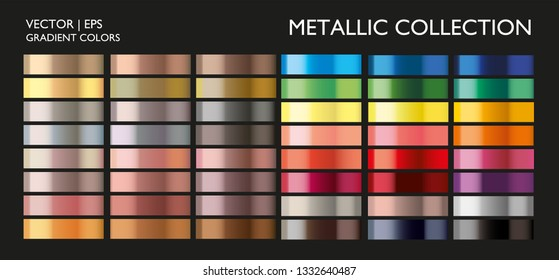 Metal gradient. Color set. Metal color. Metallic gradient. Gold, silver, pearl, bronze palette. Color collection. Steel, iron, aluminium, tin. Holographic background template, screen, mobile, banner.