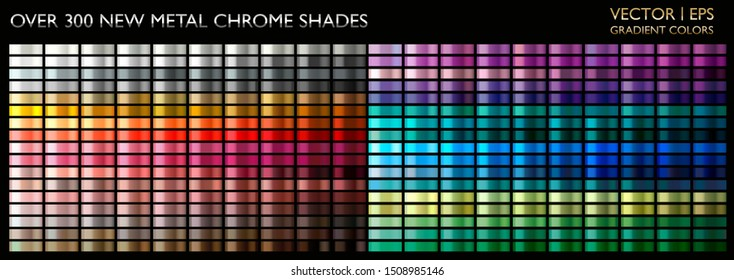 Metal gradient. Color set. Metallic collection. Gold, silver, pearl, bronze palette. Color collection. Steel, iron, aluminium, tin. Holographic background. Chrome texture. Chromium polish effect. - Shutterstock ID 1508985146