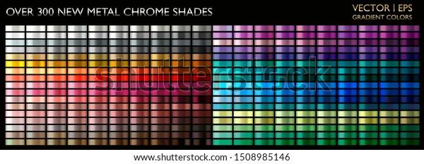 Metal gradient. Color set. Metallic collection. Gold, silver, pearl, bronze palette. Color collection. Steel, iron, aluminium, tin. Holographic background. Chrome texture. Chromium polish effect.
