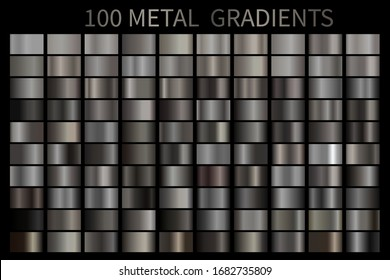 Metal gradient color set. Vector metallic chrome texture surface background template for screen, mobile, digital, web. Metallic and chromium shade combination. Vector design
