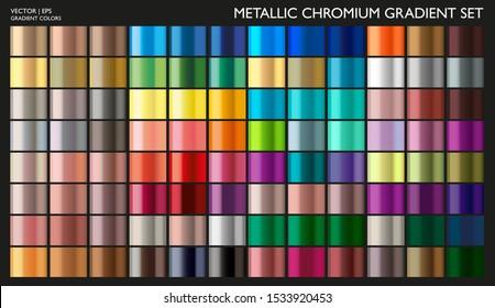Metal gradient. Gradient set. Metallic gold color collection. Pearl effect. Gold, silver, pearl, bronze palette. Steel, iron, aluminium, tin. Holographic background. Chrome texture. Chromium polish.