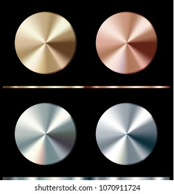 Metal gradient template. Gold, silver, bronze, platinum, steel, chrome round surface, vector illustration