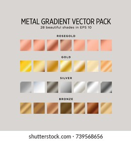 Metal gradient vector pack. 28 beautiful shades in eps 10: rosegold, gold, silver and bronze.