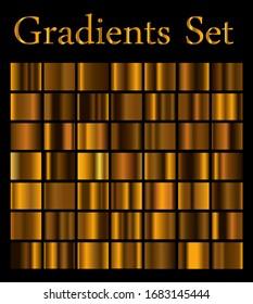 Metal gradients set, bronze, golden color, simple background