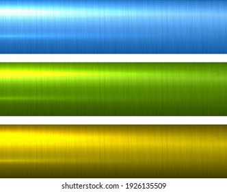 Metal green gold and blue textures, shiny brushed metallic backgrounds, vector illustration.