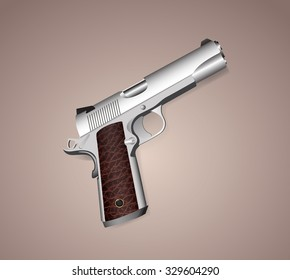 metal gun with leather handle