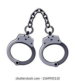 Metal handcuffs for arresting criminals vector illustration. Policeman equipment.