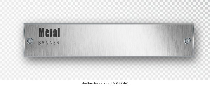 Metal horizontal banner realistic. Vector Metal brushed plates with a place for inscriptions isolated on transparent background. Realistic 3D design. Stainless steel background