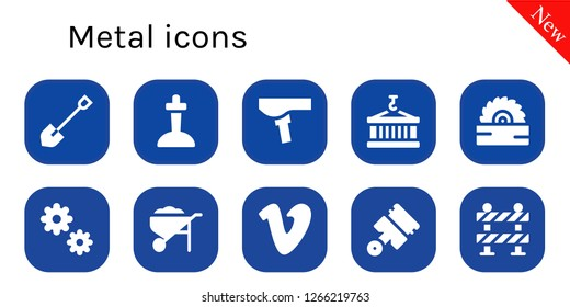 metal icon set. 10 filled metal icons. Simple modern icons about  - Shovel, Excalibur, Saddle, Container, Saw, Cogwheel, Wheelbarrow, Vimeo, Pistons, Barrier