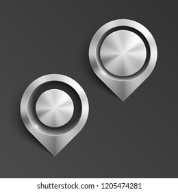 Metal Index location on map. Pointer steel position. Marker standing. Indicator destination. Metal color pointrs set. Advertising design shape. Speech steel talking cloud. Vector label pointer tag