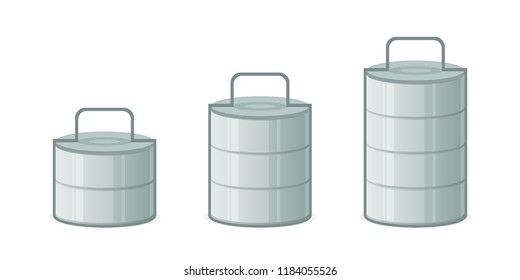 Metal indian tiffin box icon set. Clipart image isolated on white background