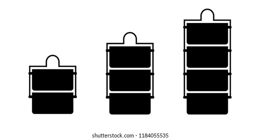 Metal indian tiffin box silhouette icon set . Clipart image isolated on white background