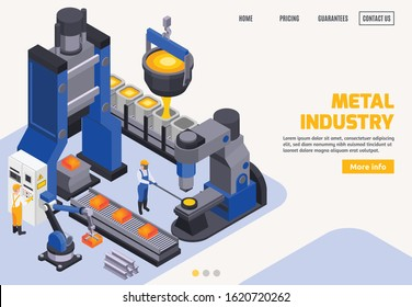 Metal industry colored banner with steel making automated equipment conveyor workers 3d isometric vector illustration