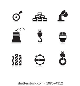 Metal industry icons set