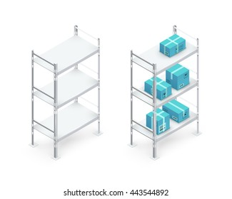 Metal Isometric 3D Shelvings With Cardboard Boxes