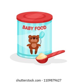 Metal jar of milk powder and full spoon. Flat vector icon of baby food. Infant formula. Nutrition for toddlers