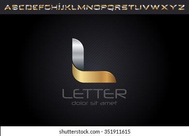 Metal L Letter Logo, alphabet logo design.