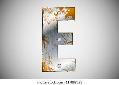 Metal letters of the alphabet  E