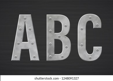Metal letters with rivet. Vector illustration.