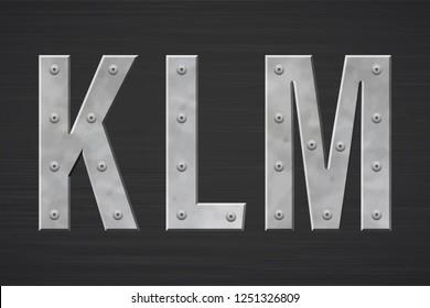 Metal letters with rivet. Vector illustration.