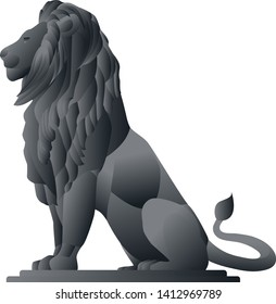 Metal lion statue graphic vector