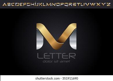 Metal M Letter Logo, alphabet logo design.