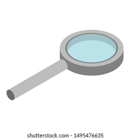 Metal magnify glass icon. Isometric of metal magnify glass vector icon for web design isolated on white background