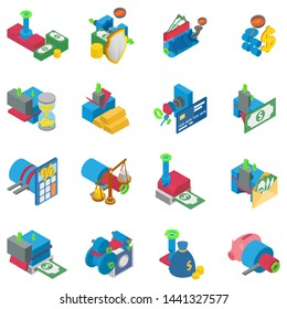 Metal money icons set. Isometric set of 16 metal money vector icons for web isolated on white background