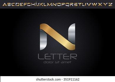 Metal N Letter Logo, alphabet logo design.