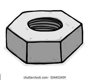 metal nuts / cartoon vector and illustration, grayscale, hand drawn style, isolated on white background.