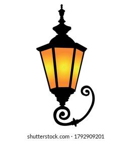 metal old ornate streetlight vector retro lamp silhoutte illustration  - Shutterstock ID 1792909201