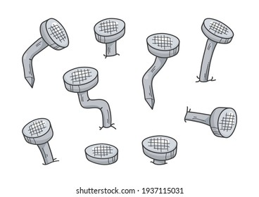 Metal old rust bent nail vector, cartoon gray pin icon. Carpentry concept isolated on white background. Abstract illustration