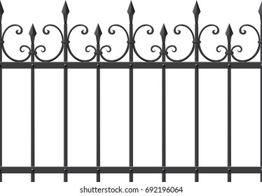 Metal openwork fencing with sharp ends, which, if desired, can be duplicated in both directions without seams
