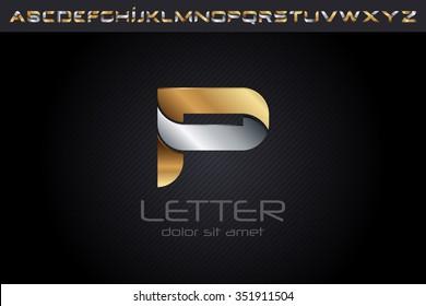 Metal P Letter Logo, alphabet logo design.