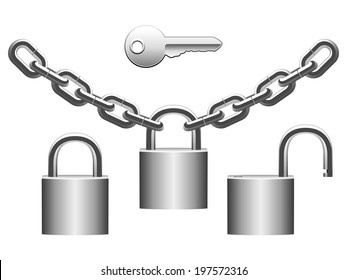 Metal padlocks, chains and key.