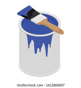 Metal paint can with blue paint and paintbrush with wooden handle vector illustration