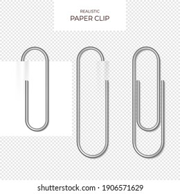 Metal paper clips on transparent background isolated and attached to paper