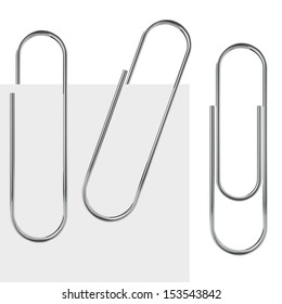 Metal paperclip vector template isolated on white background with samples.