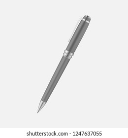 Metal pen isolated on gray background, realistic vector mockup.