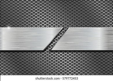 Metal perforated background with cut metal plates. Vector 3d illustration