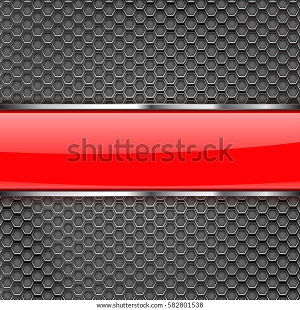 Metal perforated background with shiny glass stripe. Vector 3d illustration.