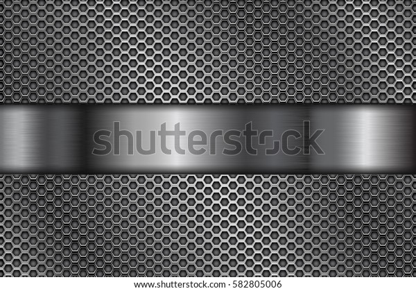 Metal perforated background with shiny steel stripe. Vector 3d illustration.