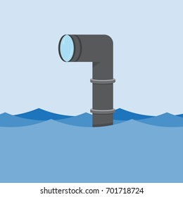 Metal periscope in the waves above the water. vector Illustration
