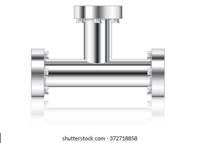 Metal pipes with flange. Vector illustration isolated on white background