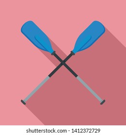 Metal plastic oars icon. Flat illustration of metal plastic oars vector icon for web design