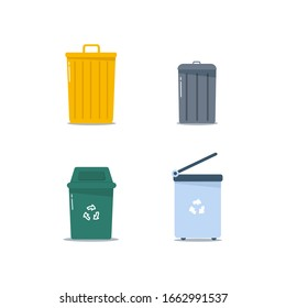 Metal and plastic trash bins, garbage bags in flat design. Multi-colored waste bins full of garbage. Cartoon colored trash cans isolated on white background. vector illustration, EPS 10.