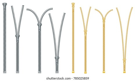 Metal and Plastic Zipper Set Isolated on White Background. Close and Open Positions. Vector Illustration. Clothes Accessory.